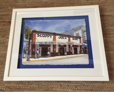 Sloppy Joe's Bar in Key West - Hand Signed FRAMED ORIGINAL Watercolor Painting
