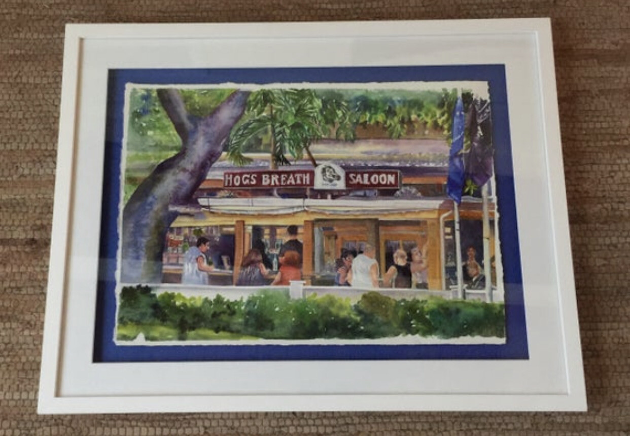 Hog's Breath Saloon in Key West - Hand Signed FRAMED ORIGINAL Watercolor Painting