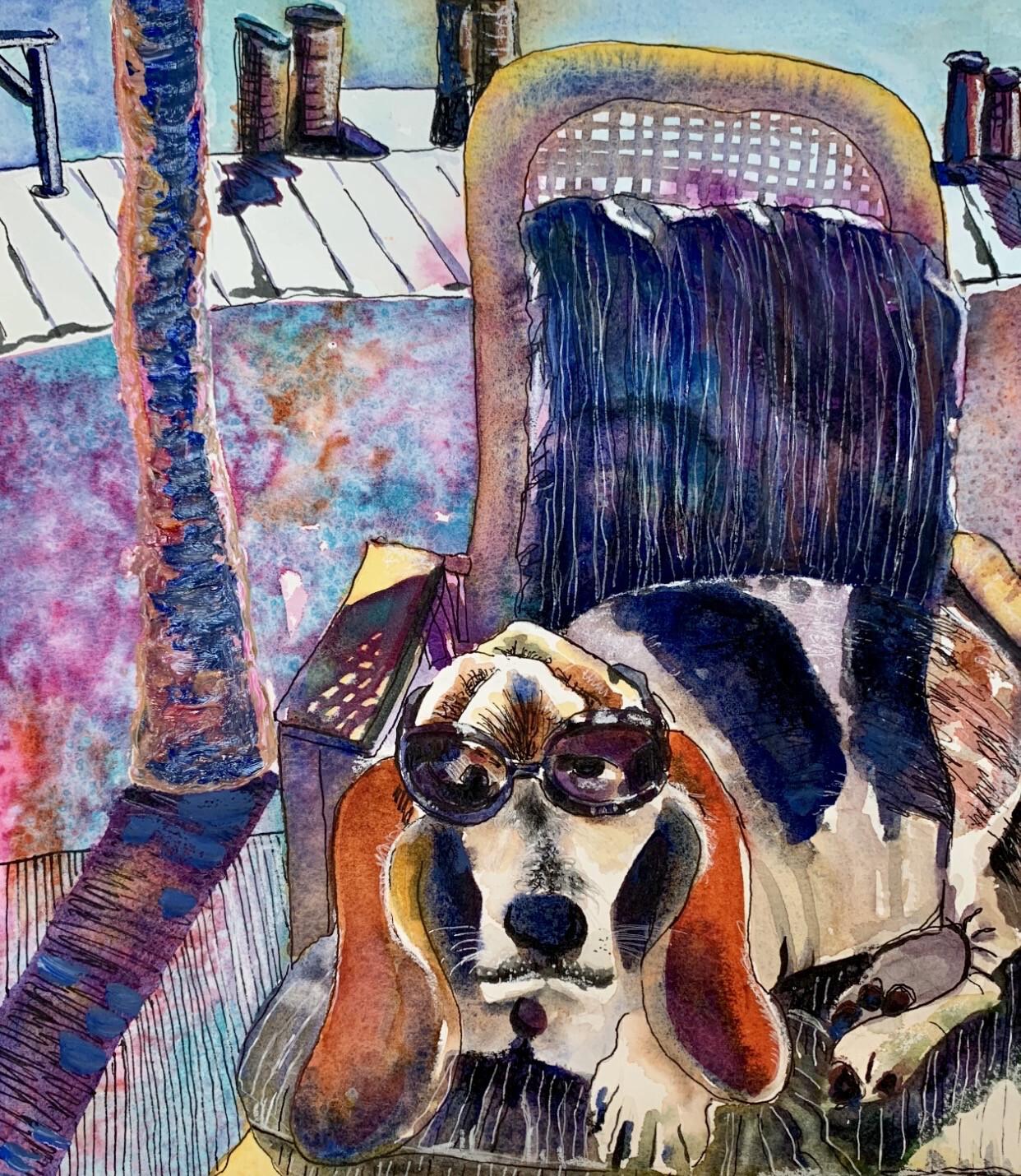 Sunglassed Dog - Mixed Media