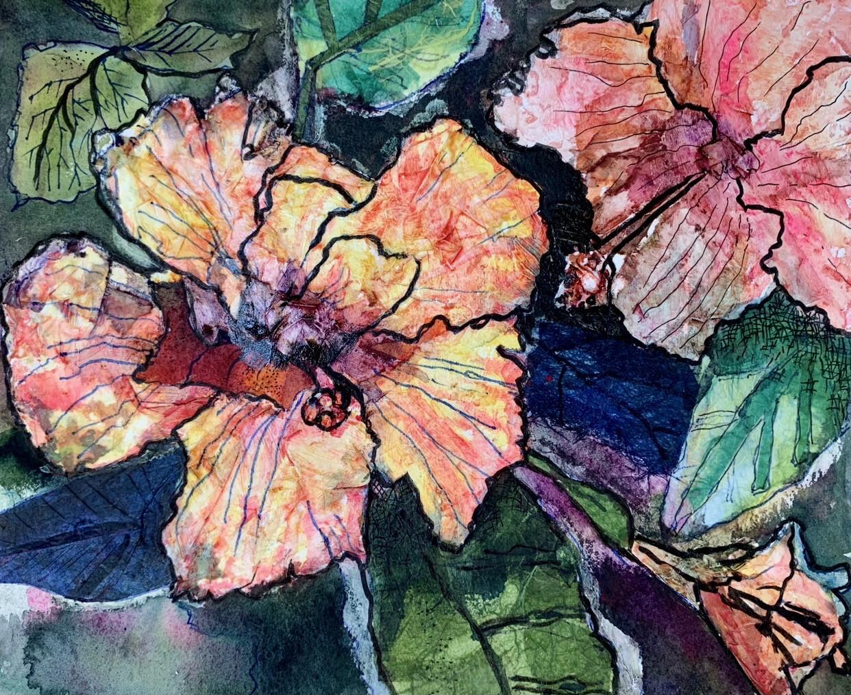 Peach Hibiscus - Mixed Media
