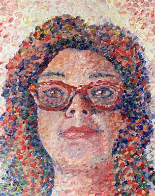 Pointillist Self Portrait- Acrylic