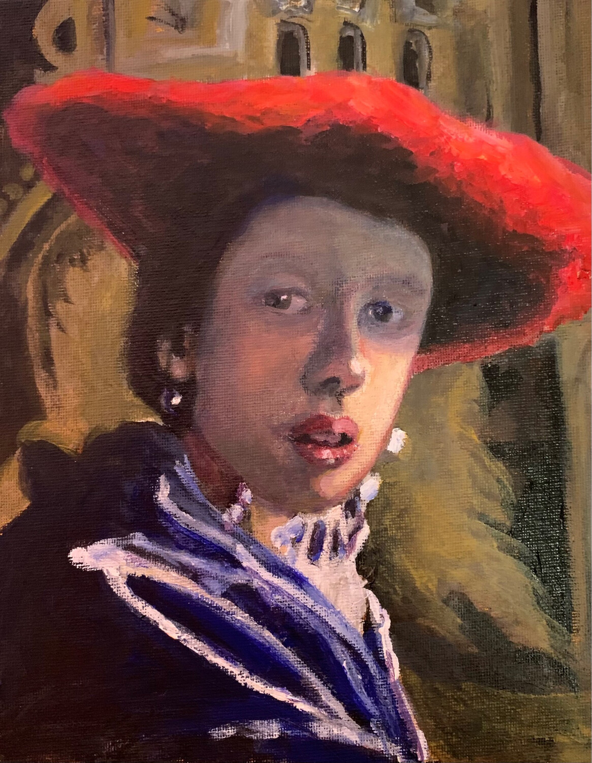 Master Copy of Johannes Vermeer's Girl with a Red Hat - Acrylic