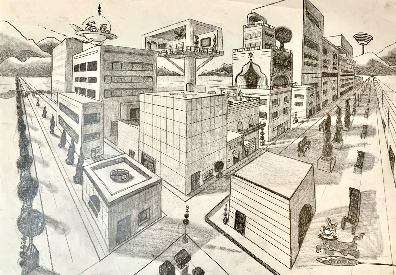 Just For Fun - Two Point Perspective - Graphite