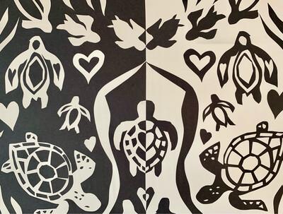 Turtle Love - Symmetry Project - Cut Paper