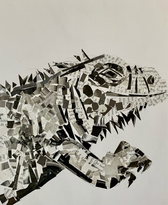 Newsprint Iguana - Value Project - Recycled Paper Collage