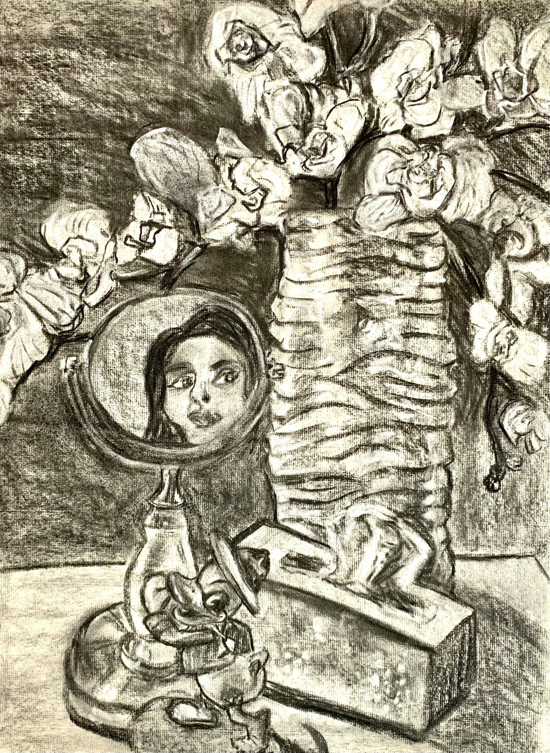 Self Portrait with Mirror - Charcoal