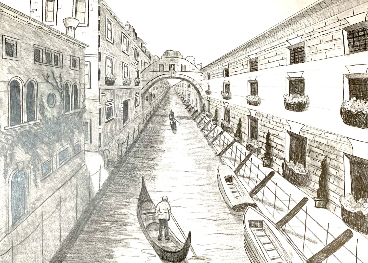 Venice Canal - One Point Perspective - Graphite