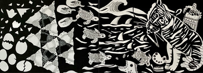 Tiger Turtle - Tessalation Diptych - Cut Paper, Graphite and Marker
