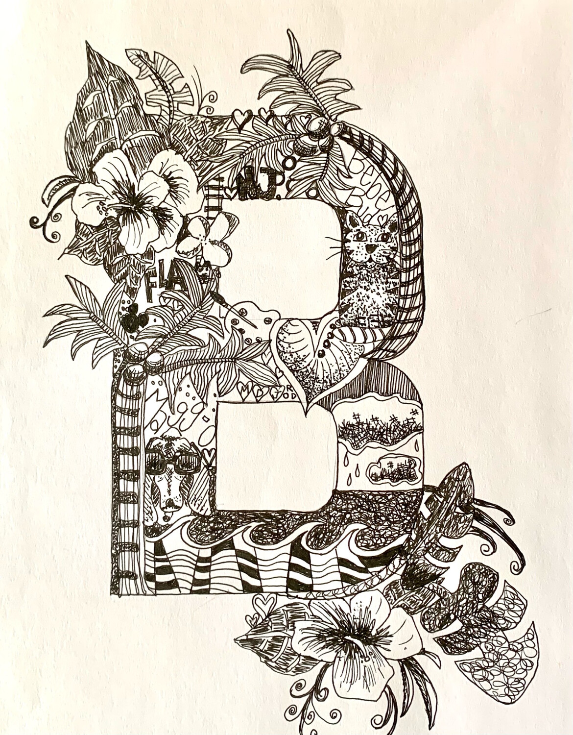 The Letter B - Pen and Ink