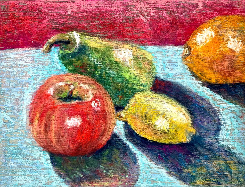 Fruit Still Life - Pastel on Board