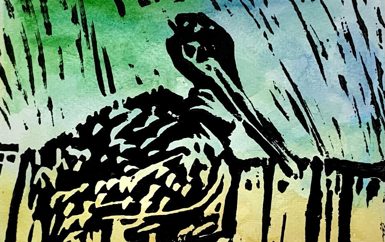 Pelican - Lino Print