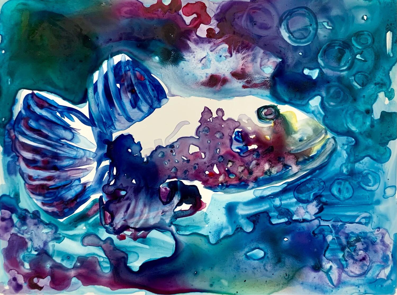 Guppy - Watercolor on Yupo