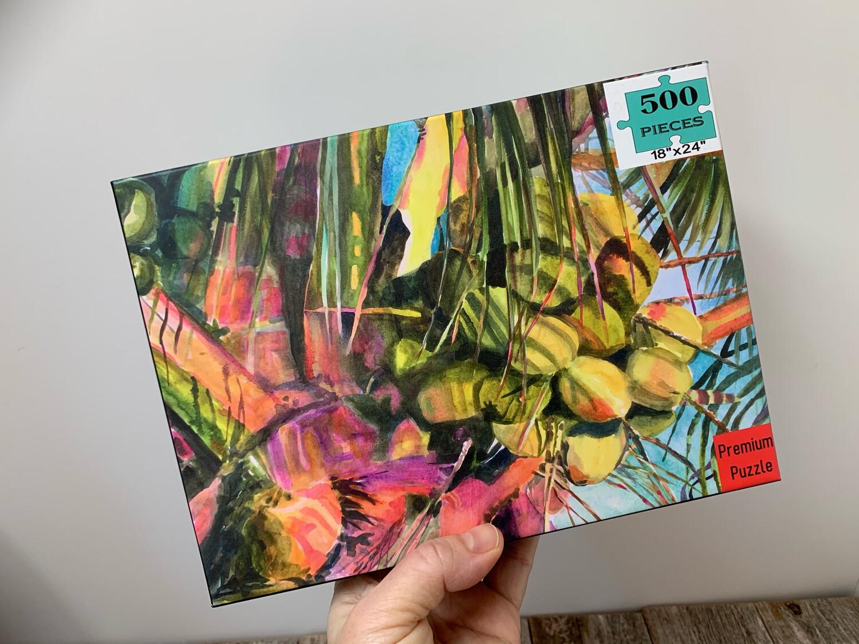 "Florida Keys Puzzle - 500 Piece Sway to the Rhythm Coconut Palm Tree Puzzle 18""x24"""