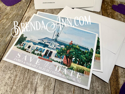 Wedding Save the Date Cards - Yacht Club of Stone Harbor in Stone Harbor NJ - Watercolor by Brenda Ann