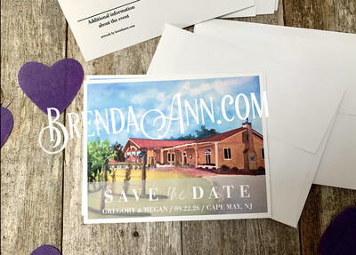 Wedding Save the Date Cards - Willow Creek Winery in Cape May NJ - Watercolor by Brenda Ann
