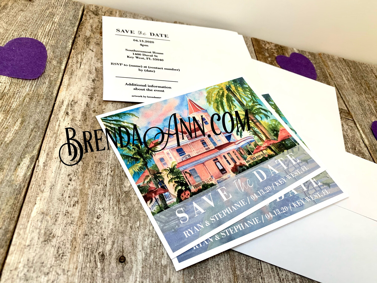 Wedding Save the Date Cards - Southernmost House in Key West FL - Watercolor by Brenda Ann