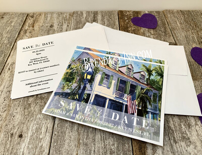 Wedding Save the Date Cards - Audubon House in Key West FL - Watercolor by Brenda Ann