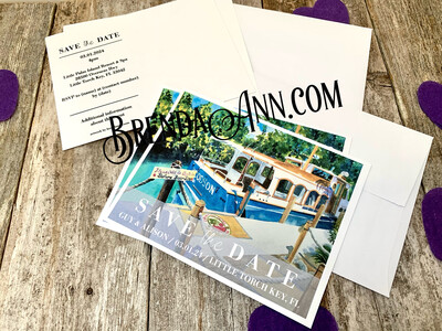 Wedding Save the Date Cards - Little Palm Island in Little Torch Key FL - Watercolor by Brenda Ann