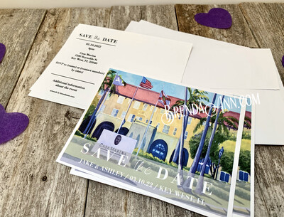 Wedding Save the Date Cards - Casa Marina in Key West FL - Watercolor by Brenda Ann