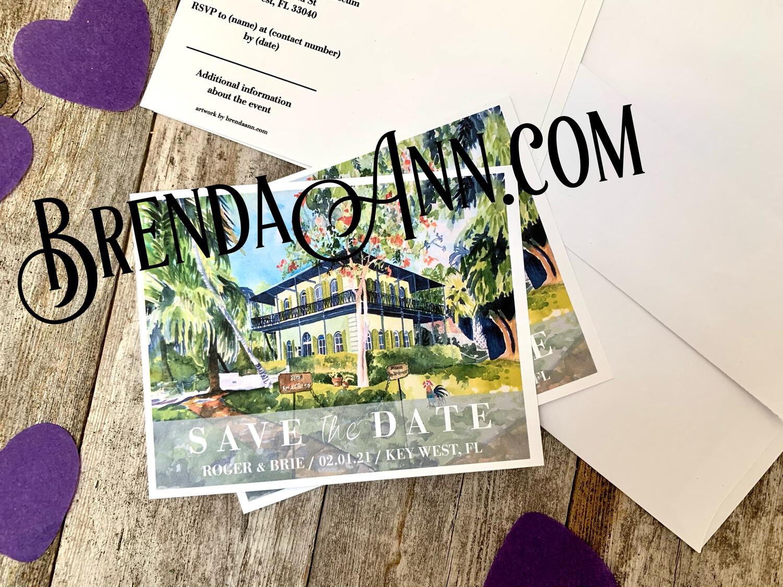 Wedding Save the Date Cards - Hemingway Home & Museum in Key West FL - Watercolor by Brenda Ann