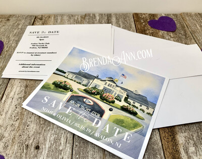 Wedding Save the Date Cards - Avalon Yacht Club in Avalon NJ - Watercolor by Brenda Ann
