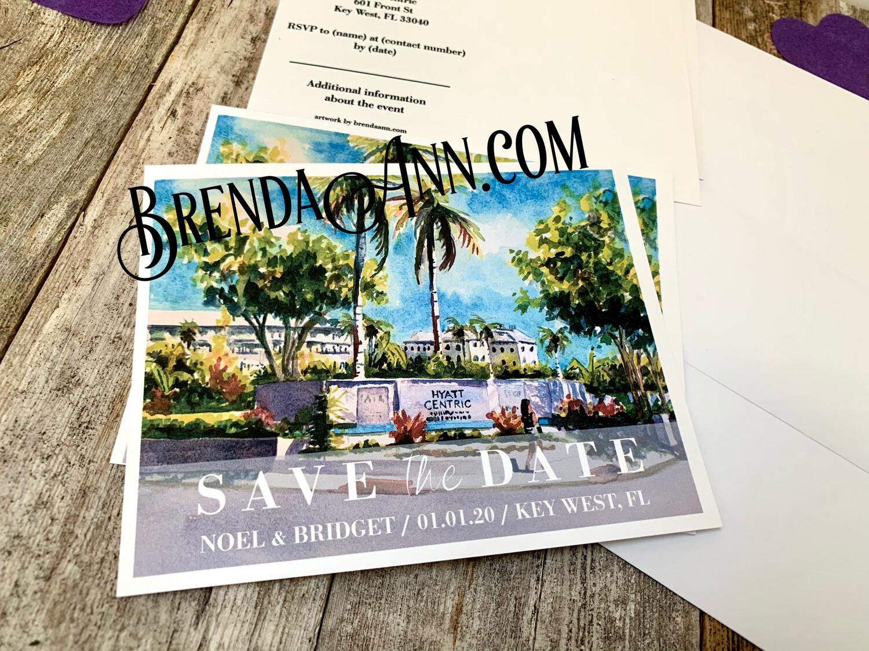 Wedding Save the Date Cards - Hyatt Centric in Key West FL - Watercolor by Brenda Ann