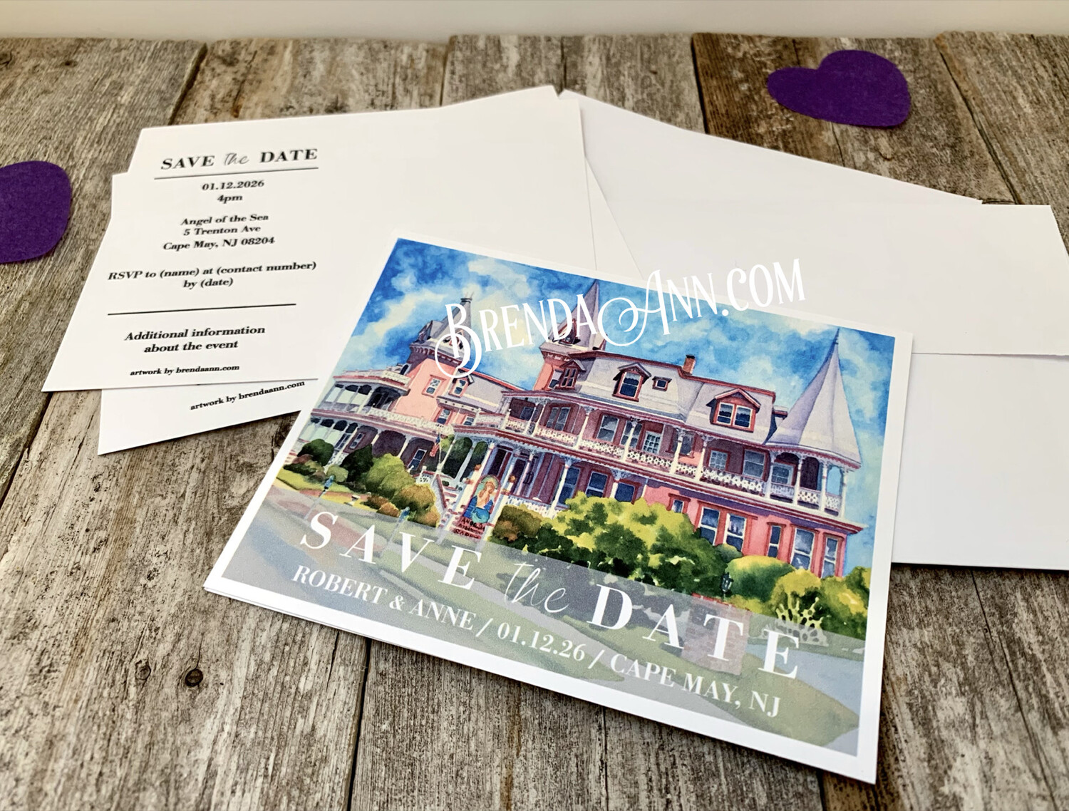 Wedding Save the Date Cards - Angel of the Sea in Cape May NJ - Watercolor by Brenda Ann