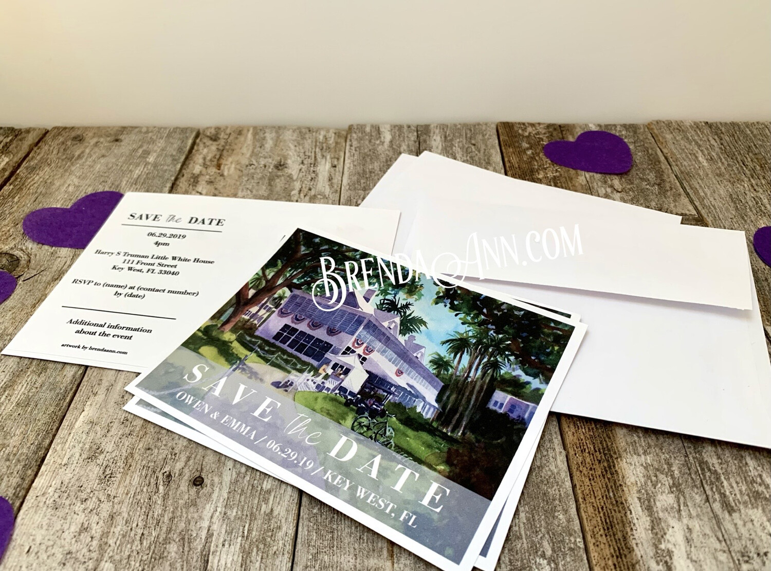 Wedding Save the Date Cards - Harry S. Truman Little White House in Key West FL - Watercolor by Brenda Ann