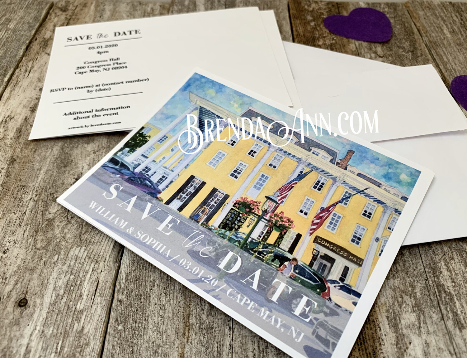 Wedding Save the Date Cards - Congress Hall in Cape May NJ - Watercolor by Brenda Ann