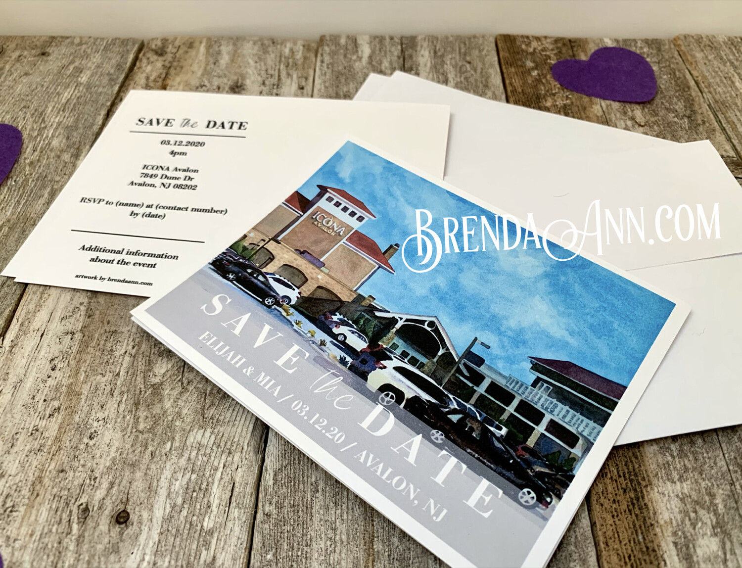 Wedding Save the Date Cards - ICONA Avalon in Avalon NJ - Watercolor by Brenda Ann