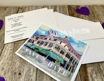 Wedding Save the Date Cards - Chalfonte Hotel in Cape May NJ - Watercolor by Brenda Ann