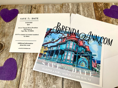 Wedding Save the Date Cards - Queen Victoria Bed & Breakfast in Cape May NJ - Watercolor by Brenda Ann