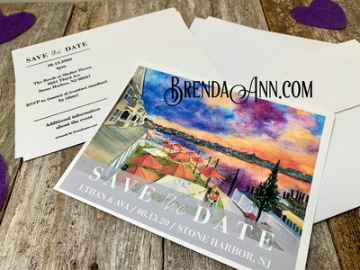Wedding Save the Date Cards - The Reeds At Shelter Haven in Stone Harbor NJ - Bay View - Watercolor by Brenda Ann