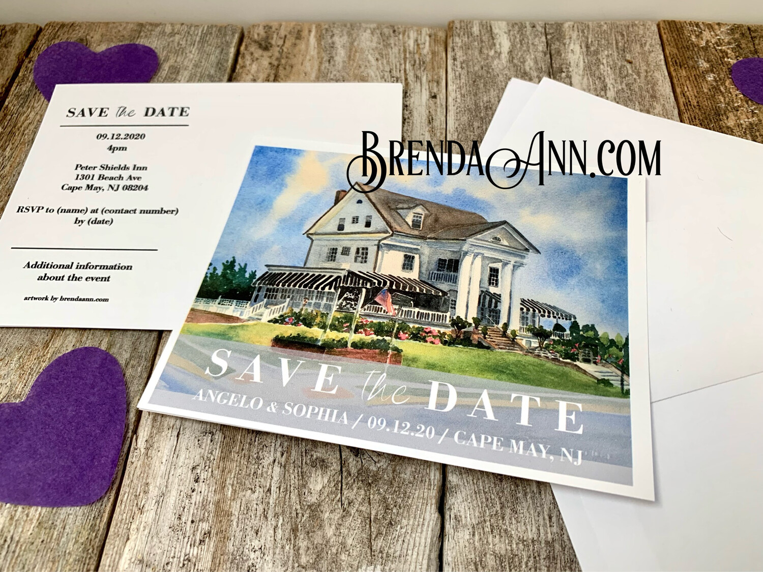 Wedding Save the Date Cards - Peter Shields Inn in Cape May NJ - Watercolor by Brenda Ann