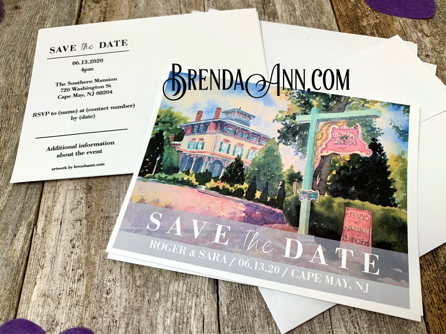 Wedding Save the Date Cards - Southern Mansion in Cape May NJ - Watercolor by Brenda Ann