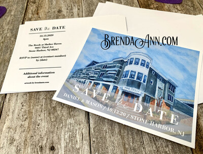 Wedding Save the Date Cards - The Reeds At Shelter Haven in Stone Harbor NJ - Street View - Watercolor by Brenda Ann