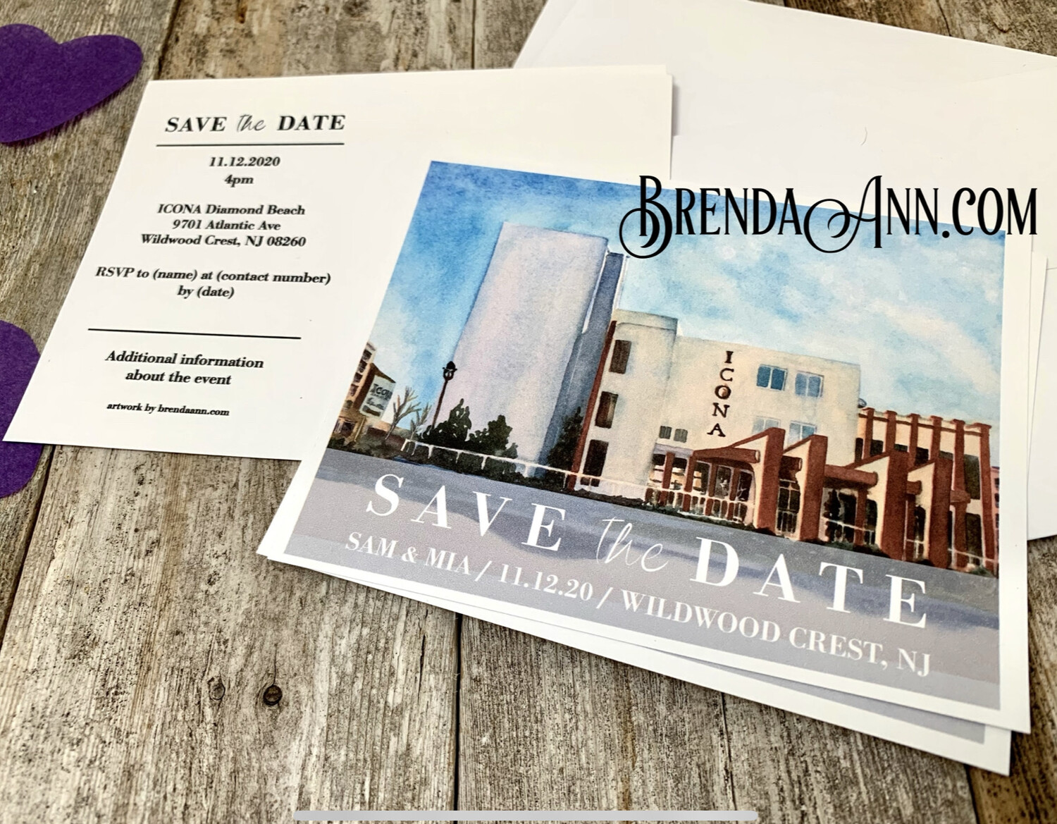 Wedding Save the Date Cards - ICONA Diamond Beach in Wildwood Crest NJ - Watercolor by Brenda Ann