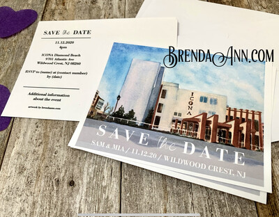 Wedding Save the Date Cards - ICONA Diamond Beach in Wildwood Crest NJ - Watercolor by Brenda Ann