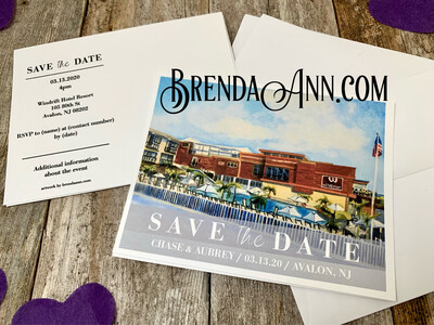 Wedding Save the Date Cards - Windrift Hotel Resort in Avalon NJ - Watercolor by Brenda Ann
