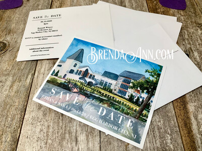 Wedding Save the Date Cards - Renault Winery in Egg Harbor City NJ - Watercolor by Brenda Ann