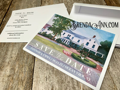 Wedding Save the Date Cards - Abbie Holmes Estate in Ocean View NJ - Watercolor by Brenda Ann