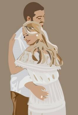Custom Minimalist Digital Wedding Portrait Illustration - Vector Art - Printable Art - Personalized Illustration - Physical or Digital - $80 and up