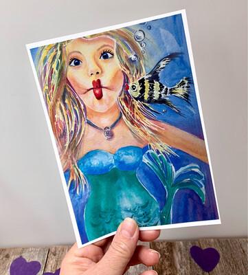 Kissy Fish Mermaid - Hand Signed Archival Watercolor Print