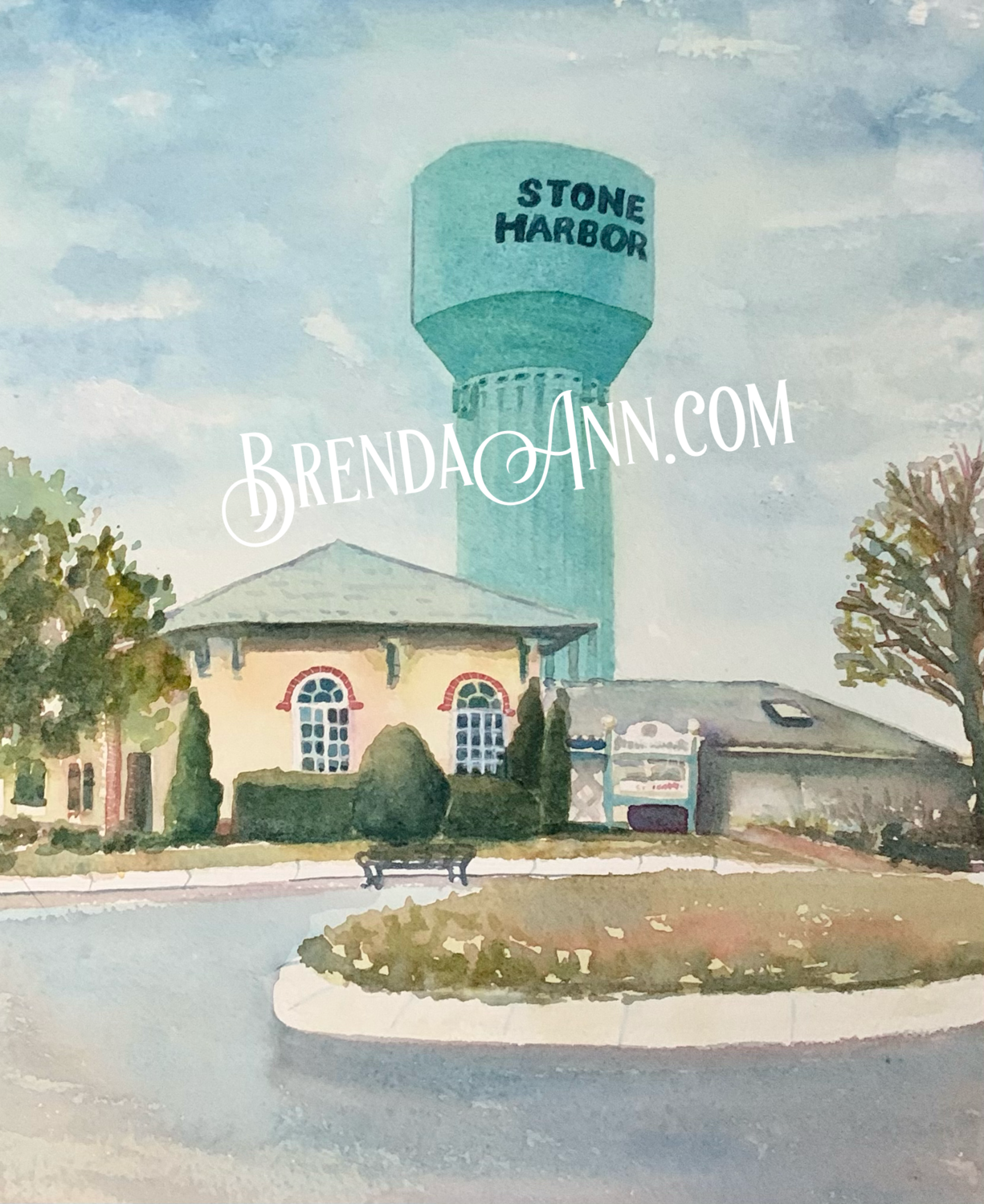 The Stone Harbor Water Tower in Stone Harbor, NJ - Hand Signed Archival Watercolor Print