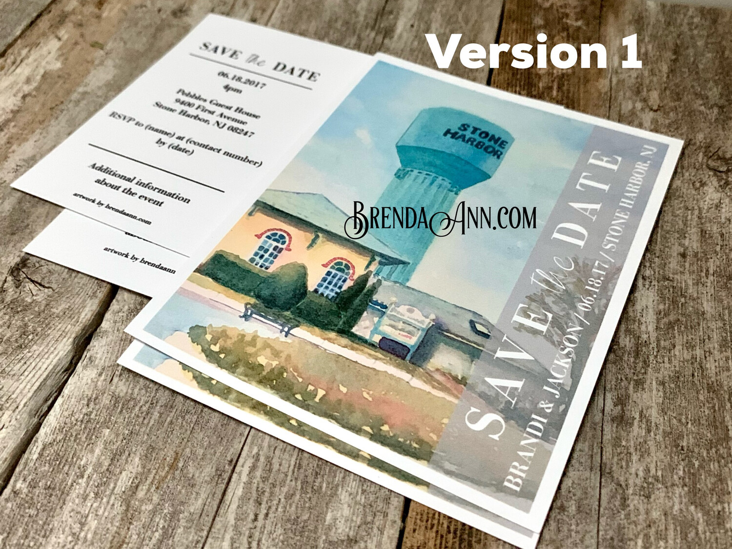 Wedding Save the Date Cards - Stone Harbor Water Tower in Stone Harbor NJ - Watercolor by Brenda Ann