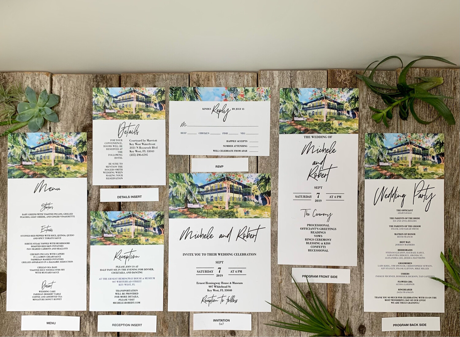 Wedding Invitation Matching Stationery Suite - Wedding Invitations on Luxurious Paper with Envelopes - Set of 25 - Choose From 24 Venues - Hemingway Home & Museum in Key West, FL, Etc