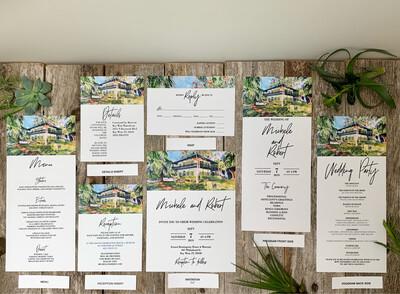Wedding Invitations + Matching RSVPs, Menus, Programs, Etc. -  Luxurious Paper w/ Envelopes - Set of 25 - Choose Your Venue (Shown: Hemingway Home & Museum in Key West,FL