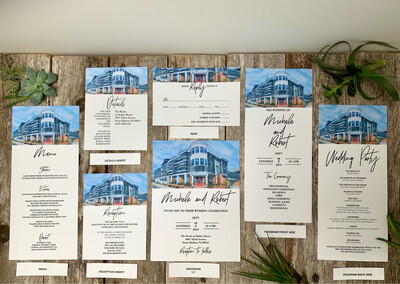 Wedding Invitation Matching Stationery Suite - Wedding Invitations on Luxurious Paper with Envelopes - Set of 25 - Choose From 24 Venues -  The Reeds at Shelter Haven in Stone Harbor, NJ, Etc