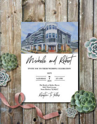The Reeds at Shelter Haven in Stone Harbor, NJ - Wedding Invitations on Luxurious Paper - Set of 25 with Envelopes - Watercolor Invitations