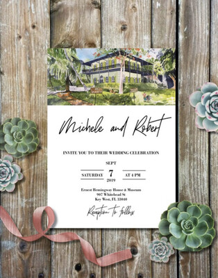 Hemingway Home & Museum in Key West, FL - Wedding Invitations on Luxurious Paper with Envelopes - Set of 25 - Watercolor Invitation